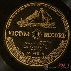 Discos de pizarra: CHARLES D'ALMAINE - SERENATA (PIERNE) / HOWARD RATTAY - CAVATINA DE RAFF - VICTOR RECORD 62548. Lote 35866830