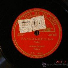 Discos de pizarra: ANDRES SEGOVIA - FANDANGUILLO (TURINA) (CC10893) / TREMOLO ESTUDIO (TARREGA) (CC10891). Lote 35886586