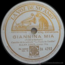 Discos de pizarra: ALLAN JONES ACOMPAÑADO DE ORQUESTA - DE LA PELÍCULA LA ESPÍA DE CASTILLA - PIZARRA 10''. Lote 35974685