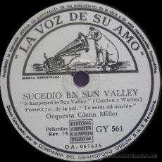 Discos de pizarra: GLENN MILLER AND HIS ORCHESTRA - SUCEDIÓ EN SUN VALLEY - PIZARRA 10'' LA VOZ DE SU AMO - 1944. Lote 105250420