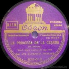 Discos de pizarra: ORQ. BOHEMIOS VIENESES / MARTA EGGERTH - LA PRINCESA DE LA CZARDA - PIZARRA ODEON 203.618. Lote 36013852
