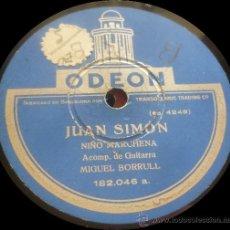 Discos de pizarra: NIÑO MARCHENA, MIGUEL BORRULL - JUAN SIMÓN / FANDANGUILLO - PIZARRA ODEON 182.046 - ESPAÑA. Lote 36235263