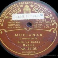 Discos de pizarra: SRTA. LA RUBIA / ANTONIO POZO (MOCHUELO) - MUCIANAS / FARRUCA - PIZARRA 11'' DISCO ODEON - 1910. Lote 36236160