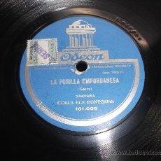 Discos de pizarra: LA PUBILLA EMPORDANESA, L'EMPORDA. COBLA ELS MONTGRINS. SARDANA. DISCO ODEON. . Lote 36399825