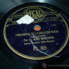 Discos de pizarra: GUAJIRAS (CREACION) FLAMENCO POR EL NIÑO MARCHENA ACOMP. GUITARRA NIÑO RICARDO. Lote 36973801