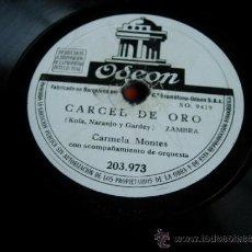 Discos de pizarra: SEVILLANAS DEL TORO NEGRO (CALLEJON Y SOLANO) CARMELA MONTES CON ACOMP. DE ORQUESTA. Lote 36986517