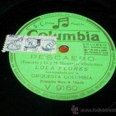 Discos de pizarra: CUATRO SEVILLANAS DE BAILE (BOLAÑOS TENORIO Y G. MONREAL) LOLA FLORES ACOMPAÑADA POR LA ORQUESTA. Lote 36986703