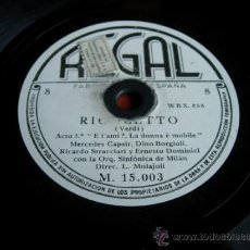Discos de pizarra: RIGOLETTO (VERDI) ACTO 2º COMPLUTO PER QUANTO . Lote 36987138