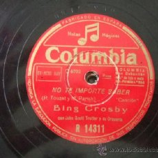 Discos de pizarra: BING CROSBY.. Lote 37014532