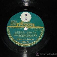 Discos de pizarra: ANTIGUO DISCO DE PIZARRA, MIGNON Y SU ORQUESTA, ADIOS, ADIOS, (MARTIN LIZCANO DE LA ROSA Y A. KAPS) . Lote 37213668