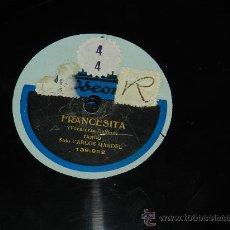 Discos de pizarra: ANTIGUO DISCO DE PIZARRA, CARLOS GARDEL, FRANCESITA Y MACHACHIN FLOR DE LOS LLANOS, ED. ODEON 139.98. Lote 37247657