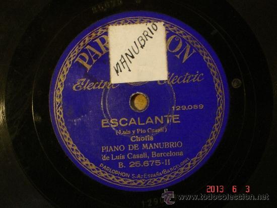 Discos de pizarra: Luis Casali - Aurora (129.088) / Escalante (129089) - Parlophon 25675 - Foto 2 - 37541879