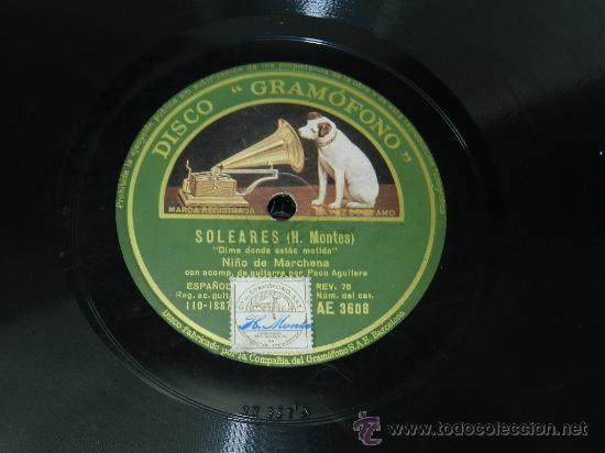 Discos de pizarra: DISCO DE PIZARRA NIÑO DE MARCHENA Y NIÑO DE LA FLOR, SOLEARES / MI COLOMBIANA, DISCO GRAMOFONO, AE 3 - Foto 2 - 37684956