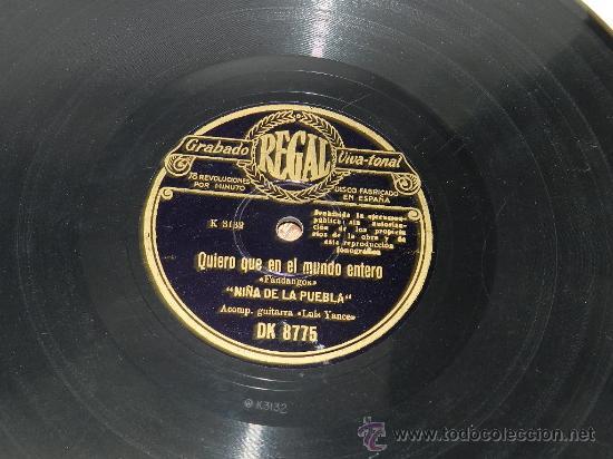 Discos de pizarra: DISCO PIZARRA. NIÑA DE LA PUEBLA. GUITARRA LUIS YANCE. REGAL. FANDANGOS, QUIERO QUE EN EL MUNDO ENTE - Foto 2 - 37685040