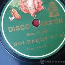 Discos de pizarra: DISCO PIZARRA ODEON. SOLEARES. SEVILLANAS. NIÑA DE LOS PEINES. FLAMENCO. Lote 37836209
