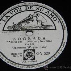Discos de pizarra: DISCO PIZARRA DE LA ORQUESTA WAYNE KING, RECUERDO A VIENA, ADORADA, GY 520 LA VOZ DE SU AMO - 25 CMS. Lote 37894073