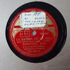 Discos de pizarra: DISCO PIZARRA.'QUIEN NO LLORA NO MAMA'-'LA SAMBA DE LA RISA' EDMUNDO ROS Y SU ORQUESTA CUBANA. Lote 37929102