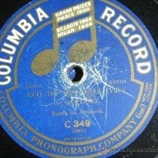 Discos de pizarra: DISCO DE PIZARRA COLUMBIA C349, MATCHICHA (BANDA FLAMENCA GASCÓN) / ECO DE LAS OLAS (BANDA ARTILLERÍ. Lote 38101457
