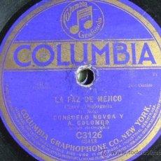 Discos de pizarra: DISCO DE PIZARRA COLUMBIA C3126, LA PAZ DE MÉJICO (CONSUELO NOVOA Y A COLOMBO) / CONCHITA LLAURADÓ. Lote 38101648