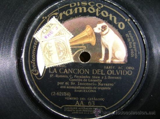 DISCO DE PIZARRA HMV GRAMÓFONO AA63. INOCENCIO NAVARRO: LA CANCIÓN DEL OLVIDO, EL CARRO DEL SOL (Música - Discos - Pizarra - Clásica, Ópera, Zarzuela y Marchas)