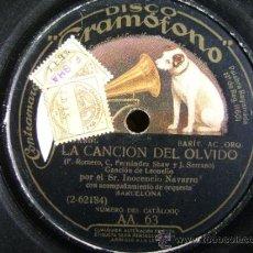 Discos de pizarra: DISCO DE PIZARRA HMV GRAMÓFONO AA63. INOCENCIO NAVARRO: LA CANCIÓN DEL OLVIDO, EL CARRO DEL SOL. Lote 38105333