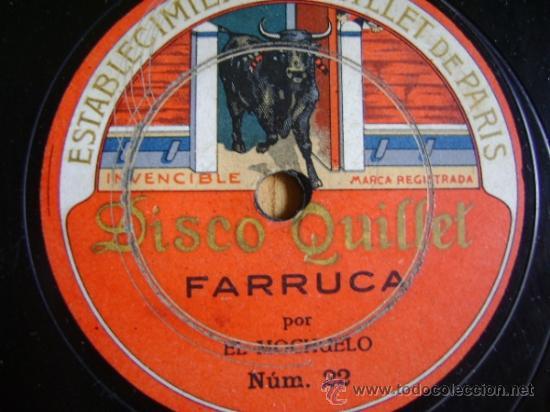 DISCO DE PIZARRA QUILLET 21 Y 22. EL MOCHUELO: GUAJIRAS / FARRUCA. (Música - Discos - Pizarra - Jazz, Blues, R&B, Soul y Gospel)