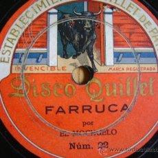 Discos de pizarra: DISCO DE PIZARRA QUILLET 21 Y 22. EL MOCHUELO: GUAJIRAS / FARRUCA.. Lote 38105894