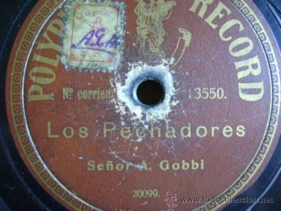 DISCO DE PIZARRA POLYPHON 13550. A GOBBI: LA LOTERÍA / LOS PECHADORES (Música - Discos - Pizarra - Otros estilos)