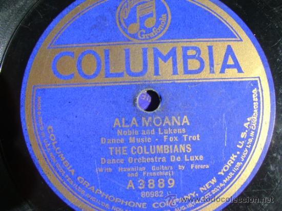 Discos de pizarra: Disco de pizarra Columbia A3889, The Columbians, Marcheta / Ala Moana - Foto 3 - 38101601