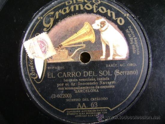 Discos de pizarra: Disco de pizarra HMV Gramófono AA63. Inocencio Navarro: La canción del olvido, El carro del sol - Foto 3 - 38105333