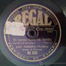 Discos de pizarra: AMALIA MOLINA - EL JUEVES SANTO EN SEVILLA (SAETAS)/TONTERÍAS GITANAS (CANTO FLAMENCO). Lote 38185469