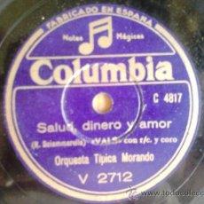 Discos de pizarra: DISCO DE PIZARRA COLUMBIA V2712. ORQUESTA TÍPICA MORANDO: ¡CAMILLERO! / SALUD, DINERO Y AMOR. Lote 38343214
