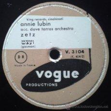 Discos de pizarra: ANNIE LUBIN - ZETZ / JENNIE GOLDSTEIN - DER BABY SITTER (MÚSICA KLEZMER) FRANCIA. Lote 38583651