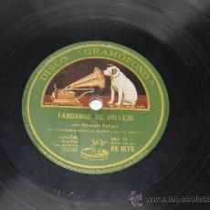 Discos de pizarra: ANTIGUO DISCO DE PIZARRA DE MANUEL VALLEJO, FANDANGO DE VALLEJO / MEDIA GRANADINA, AE 1676, ACOMP. . Lote 38792975