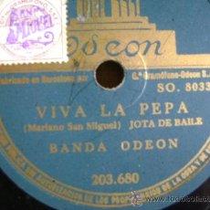 Discos de pizarra: DISCO DE PIZARRA ODEÓN 203680 DE 10 PULGADAS. BANDA ODEÓN: VIVA LA PEPA (JOTA) / UNA MUJER MADRILEÑA. Lote 39164683