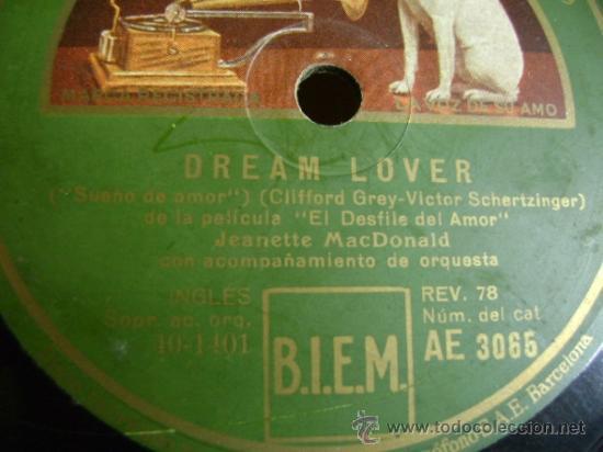 "Discos de pizarra: Disco de pizarra Gramophone AE3065 10"". Jeanette MacDonald: Dream Lover / March of the Grenadiers - Foto 2 - 39164378"