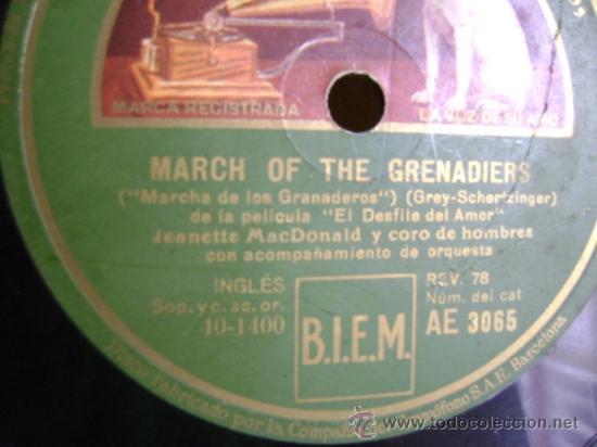 "Discos de pizarra: Disco de pizarra Gramophone AE3065 10"". Jeanette MacDonald: Dream Lover / March of the Grenadiers - Foto 4 - 39164378"