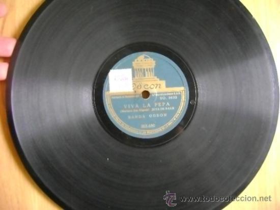 Discos de pizarra: Disco de pizarra Odeón 203680 de 10 pulgadas. Banda Odeón: Viva la Pepa (Jota) / Una mujer madrileña - Foto 2 - 39164683