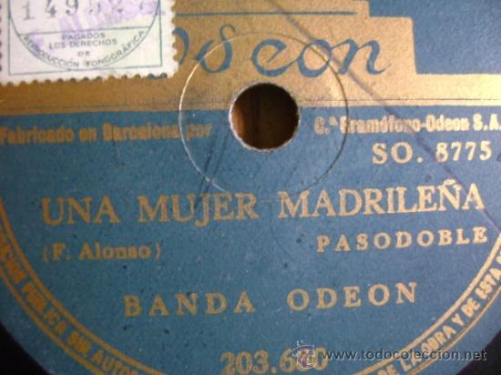 Discos de pizarra: Disco de pizarra Odeón 203680 de 10 pulgadas. Banda Odeón: Viva la Pepa (Jota) / Una mujer madrileña - Foto 3 - 39164683