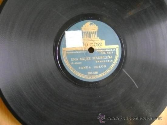 Discos de pizarra: Disco de pizarra Odeón 203680 de 10 pulgadas. Banda Odeón: Viva la Pepa (Jota) / Una mujer madrileña - Foto 4 - 39164683