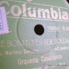 Discos de pizarra: DISCO DE PIZARRA COLUMBIA V9072. ORQUESTA CASABLANCA: QUE BONITO ES SER SOLDADO / EL BIGOTE DE TOMÁS. Lote 39179878