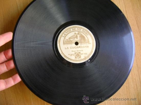 Discos de pizarra: Disco de pizarra La voz de su amo GY284. Grupo Nacional: La cucaracha / Allá en el Rancho Grande - Foto 2 - 39179452