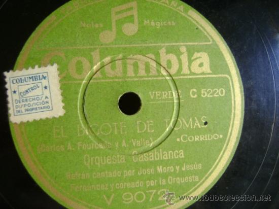 Discos de pizarra: Disco de pizarra Columbia V9072. Orquesta Casablanca: Que bonito es ser soldado / El bigote de Tomás - Foto 3 - 39179878