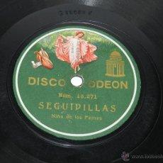 Discos de pizarra - DISCO DE PIZARRA NIÑA DE LOS PEINES - SEGUIDILLAS / TIENTOS - ODEON 13271 / 13270. - 39514461