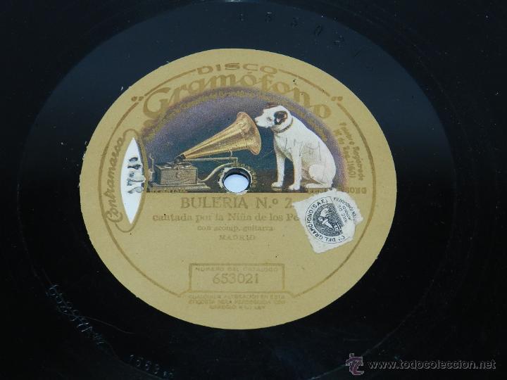 Discos de pizarra: Disco pizarra Niña de los peines, farruca y buleria nº 2, DISCO GRAMOFONO 653069 / 653021. BUEN ESTA - Foto 2 - 39514637