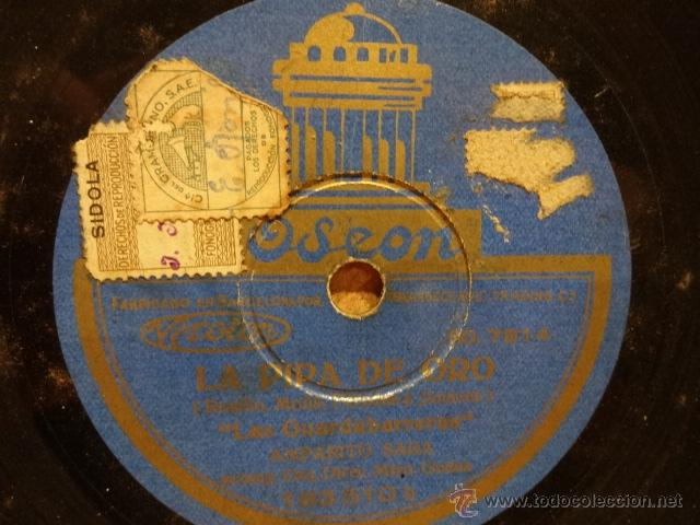 PIZARRA !! AMPARITO SARA / MARGARITA CARBAJAL. LA PIPA DE ORO. PIZARRA 25 CM. SELLO ODEON. NORMAL. (Música - Discos - Pizarra - Flamenco, Canción española y Cuplé)