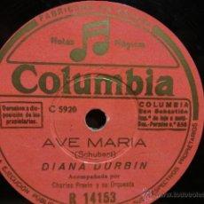 Discos de pizarra: PIZARRA !! DIANA DURBIN. AVE MARÍA / ALELUYA. PIZARRA 25 CM - SELLO COLUMBIA. LEER.. Lote 39678511