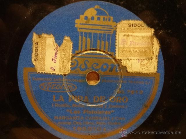Discos de pizarra: PIZARRA !! AMPARITO SARA / MARGARITA CARBAJAL. LA PIPA DE ORO. PIZARRA 25 CM. SELLO ODEON. NORMAL. - Foto 2 - 39655202