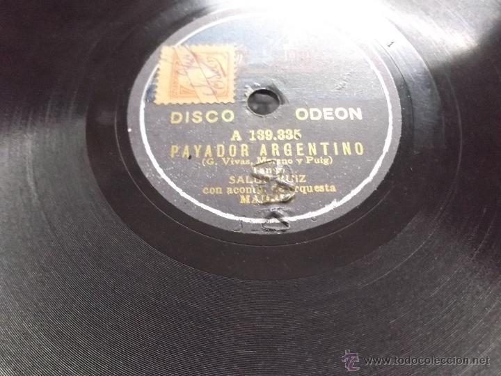 EL HIJO DEL ALCALDE/ PAYADOR ARGENTINO COUPLET SALUD RUIZ DISCO PIZARRA ODEON (Música - Discos - Pizarra - Flamenco, Canción española y Cuplé)
