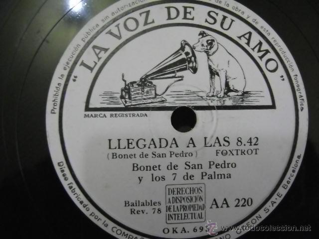 Discos de pizarra: Disco de pizarra La Voz de su Amo AA220, Bonet de San Pedro: Agonía (Fox) / Llegada a las 8.42 - Foto 2 - 39719781